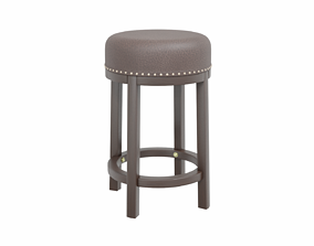 Leather Stool 3D model game-ready