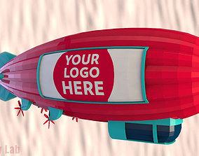 Cartoon Airship Low Poly Blimp 3D model