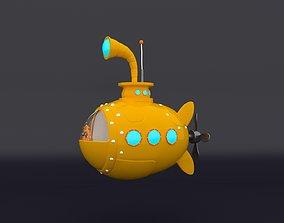 Submarine cartoon 3D asset