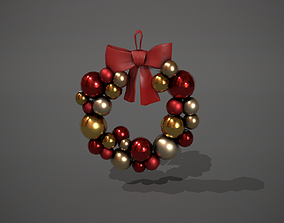 Red and Gold Christmas Bauble Wreath 3D model