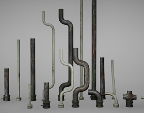 Pipes Low Poly Game Ready 3D model