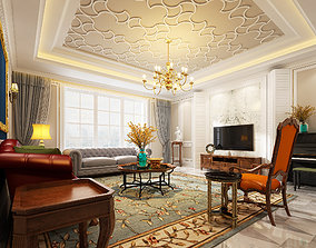 3D model of modern European style living room caffeine