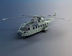 3D Green Military Helicopter