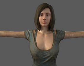 Female lowpoly 3D model low-poly