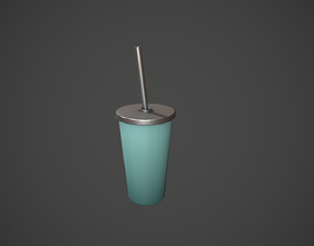 3D asset Teal Tumbler with Straw