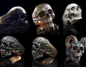 skull ring collection 3D