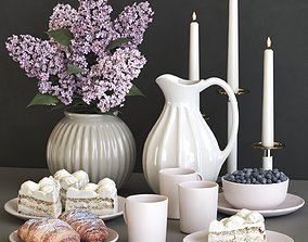 3D A set of dishes with a croissant and cake and lilac