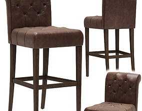 3D Restoration Hardware Bennett Roll-Back Leather Stool
