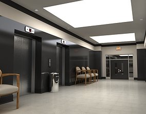 Hallway With Elevators 3D
