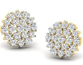 studs Women round earrings 3dm render detail