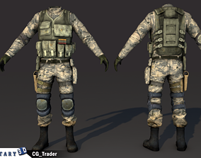 low-poly lowpoly military soldier costume 3d model