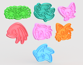 Sonic the Hedgehog cookie cutter set of 7 3D print model