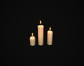 Melted Candles Set 3D asset