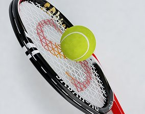 Tennis Racket and Ball 03 3D model VR / AR ready