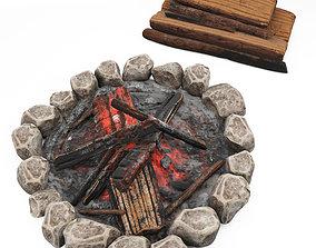 Campfire wood stack cartoon 3D