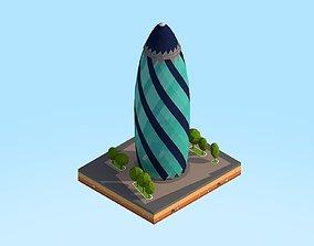 Low Poly St Marie Axe Gherkin Tower Landmark 3D model