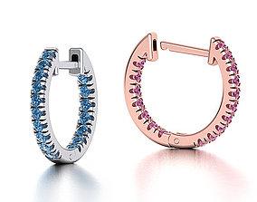 Delicate Fine Diamond Hoop Earrings 3d model israel