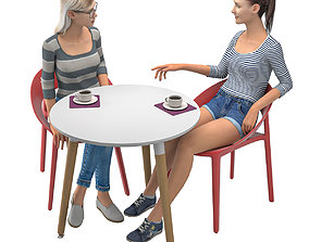 Two girls are talking at the cafe table 3D model