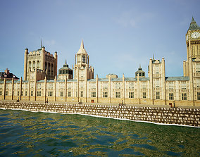 game-ready Palace of Westminster and Big Ben Low-poly 3D