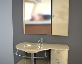 Glass wash-basin with cabinets mirror and lamp - 3D model