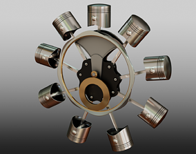 3D Pistons and Mechanism for Radial Motor