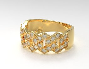 3D print model Cuban diamond ring new design