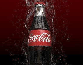 3D Coke bottle splash liquid