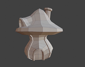 mushroom house 3D asset
