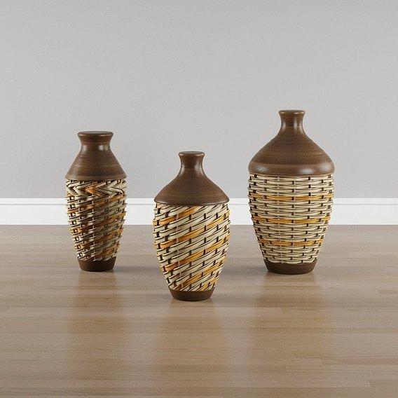 Brown Wicker Vases
