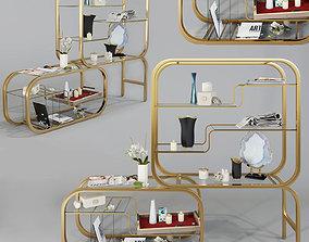 3D Milo Baughman for Dia Brass Etagere
