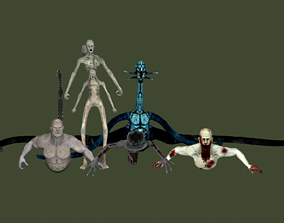 Zombie Mutant Pack 3D asset animated