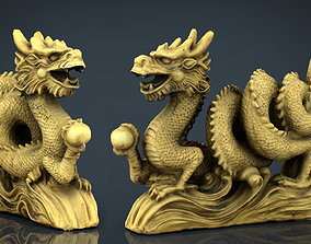 3D asset Chinese dragon statue 2