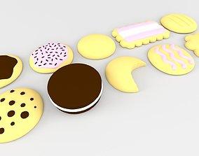 Cartoon Cookies and Biscuits Assorted 3D asset
