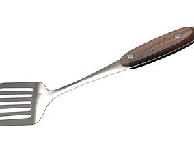 Spatula wooden handle 3D