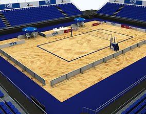 Volleyball beach court stadium high detail 3D