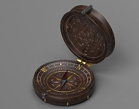 Vintage Wood Compass - Low-poly - UE4 ready - 4k 3D model