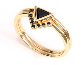 Trillion Black Diamond Ring with 3D printable model 2