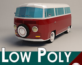 3D asset Low-Poly Cartoon VW Transporter Bus