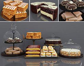3D model Cake bar Chocolate and Vanilla cake