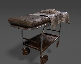 3D Very Old Stretcher-Wheeled Hospital Bed
