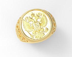 3D print model emblem of Russia ring