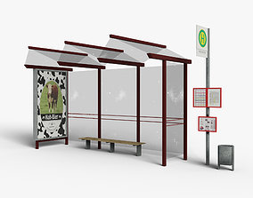 German Busstop Gameready for Engines 3D model