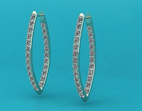 Earrings with diamonds printable 3D print model