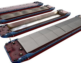 4 types of barge 85x16 Red Blue pack 3D asset