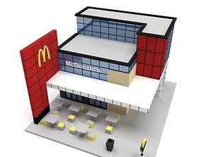 3D Low Poly McDonalds Building low-poly