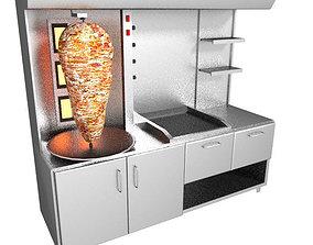 shawarma grill 3D foods