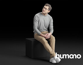 Humano Casual Man Sitting and talking 0219 3D