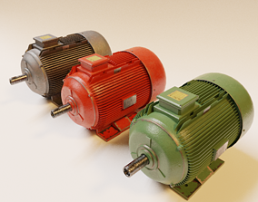 Electric Motor 3D model-Lowpoly animated