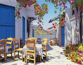european style beach restaurant 3D model