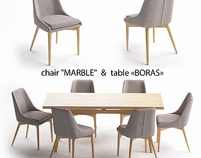 Table set table Boras chair Marble 3D